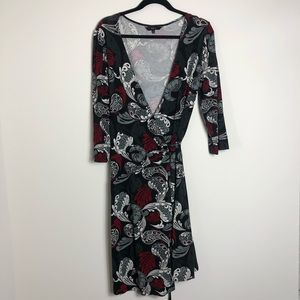 Express black and red paisley wrap dress